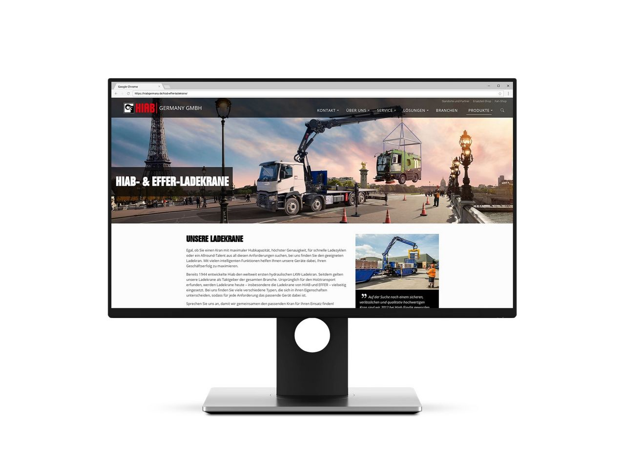 The new website of HIAB Germany is one of our latest references.